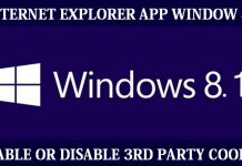 How to enable or disable 3rd party cookies in Internet Explorer app on window 8.1