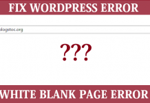 wordpress white blank page error
